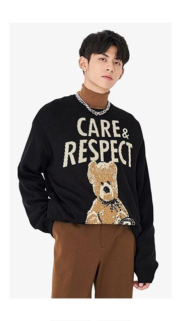 【精选货品】毛衣熊刺绣针织衫男