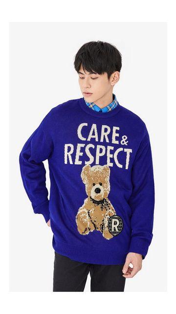 毛衣熊刺绣针织衫男