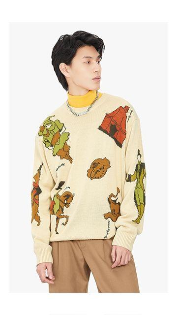 【精选货品】马戏团印花毛衣针织衫