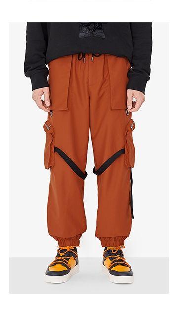 休闲多口袋抽绳工装裤