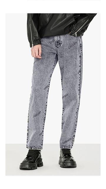 休闲裤字母刺绣牛仔裤