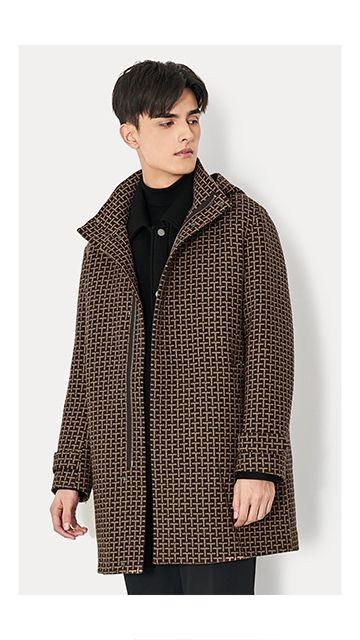 格纹羊毛外套呢子大衣