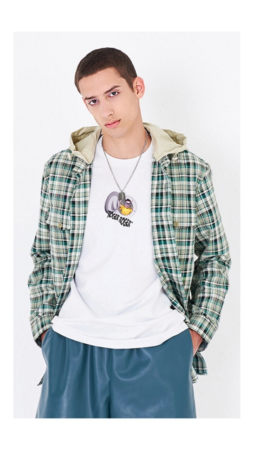 【精选货品】衬衫宽松连帽格子衬衣