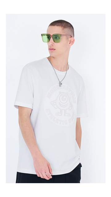 刺绣圆领棉短袖T恤男