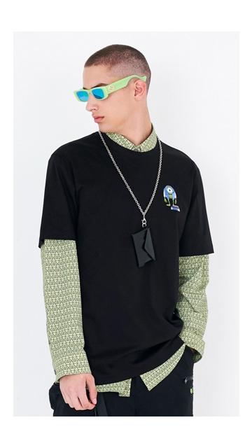 圆领印花棉短袖T恤男