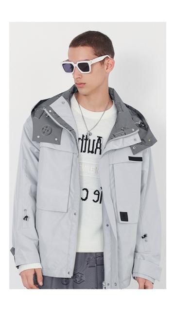 【精选货品】风衣双面穿连帽外套男