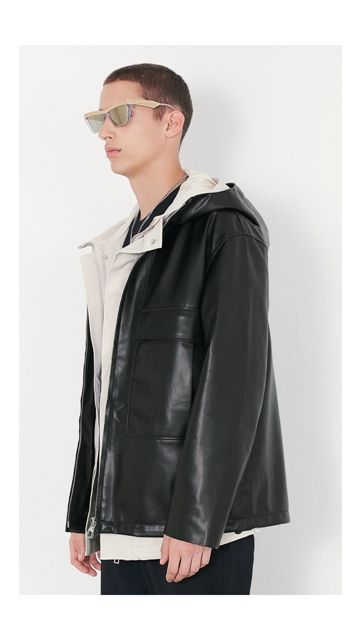 【精选货品】皮衣连帽拉链pu皮外套