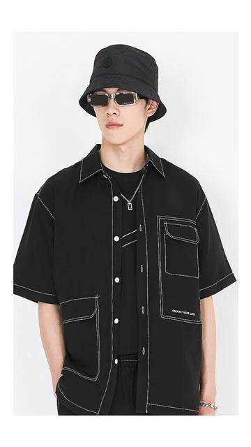 【精选折扣】衬衣翻领短袖男士衬衫