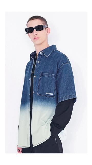 【精选货品】扎染刺绣牛仔短袖衬衫