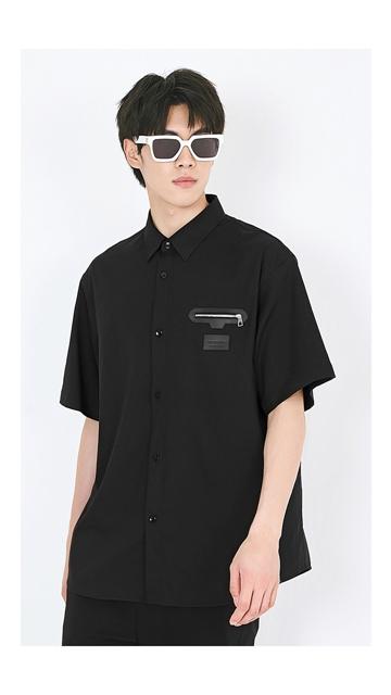 衬衣logo拉链短袖衬衫