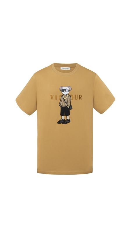 贴布刺绣slogan短袖T恤