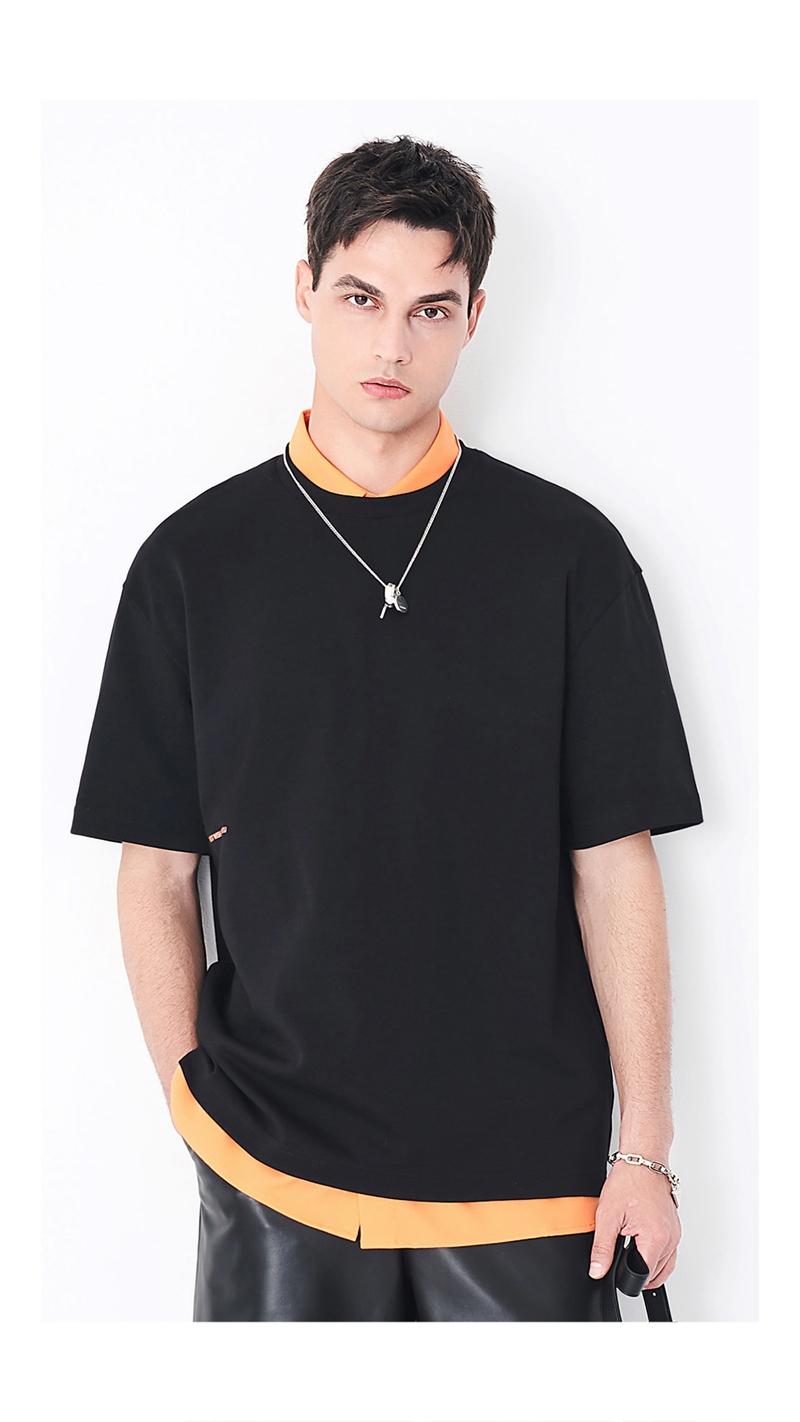 立体刺绣印花短袖T恤男