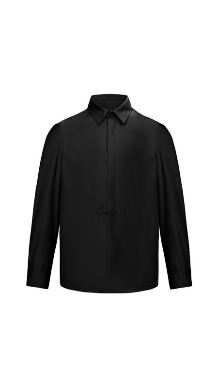 简约尖领长袖休闲衬衫