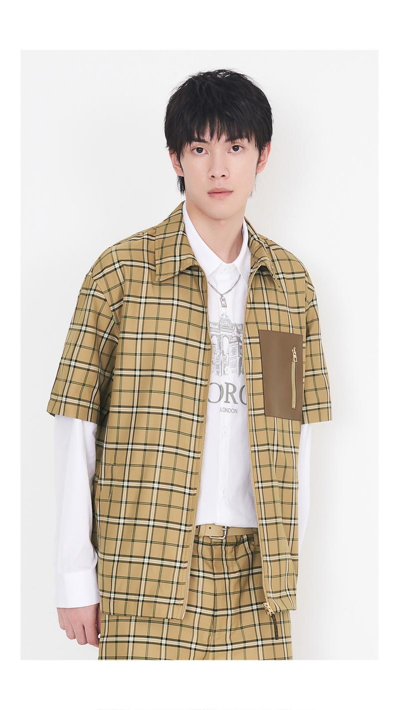 格子拼皮拉链短袖衬衫