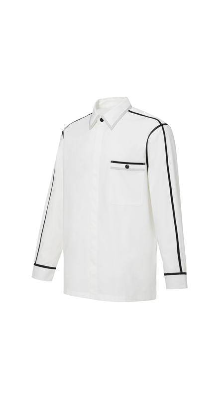 撞色饰边长袖休闲衬衫