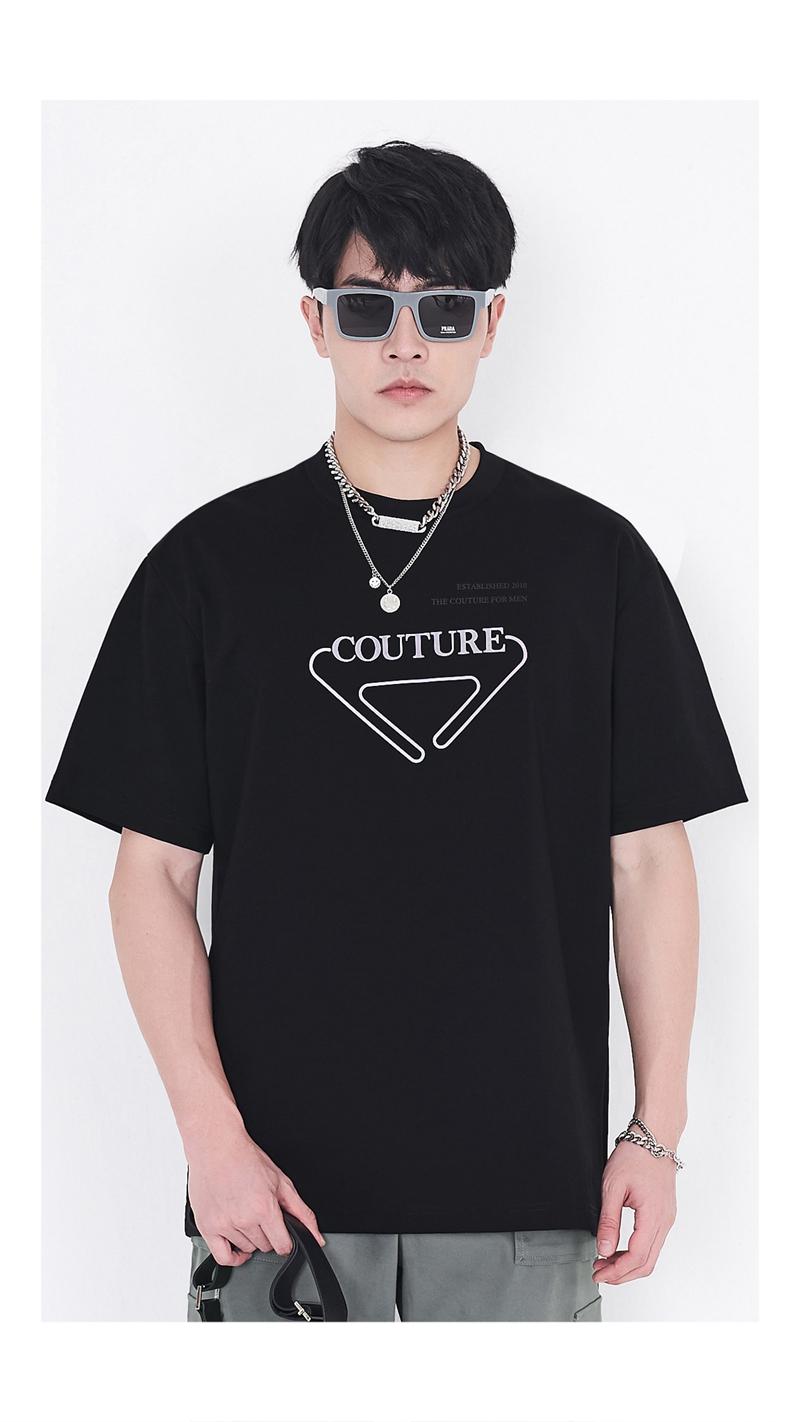 散粉压胶图案短袖T恤男