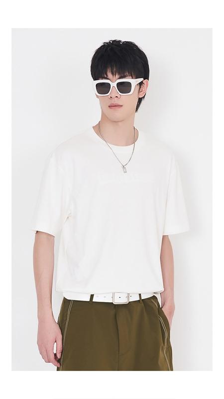 立体压花纯棉短袖T恤男