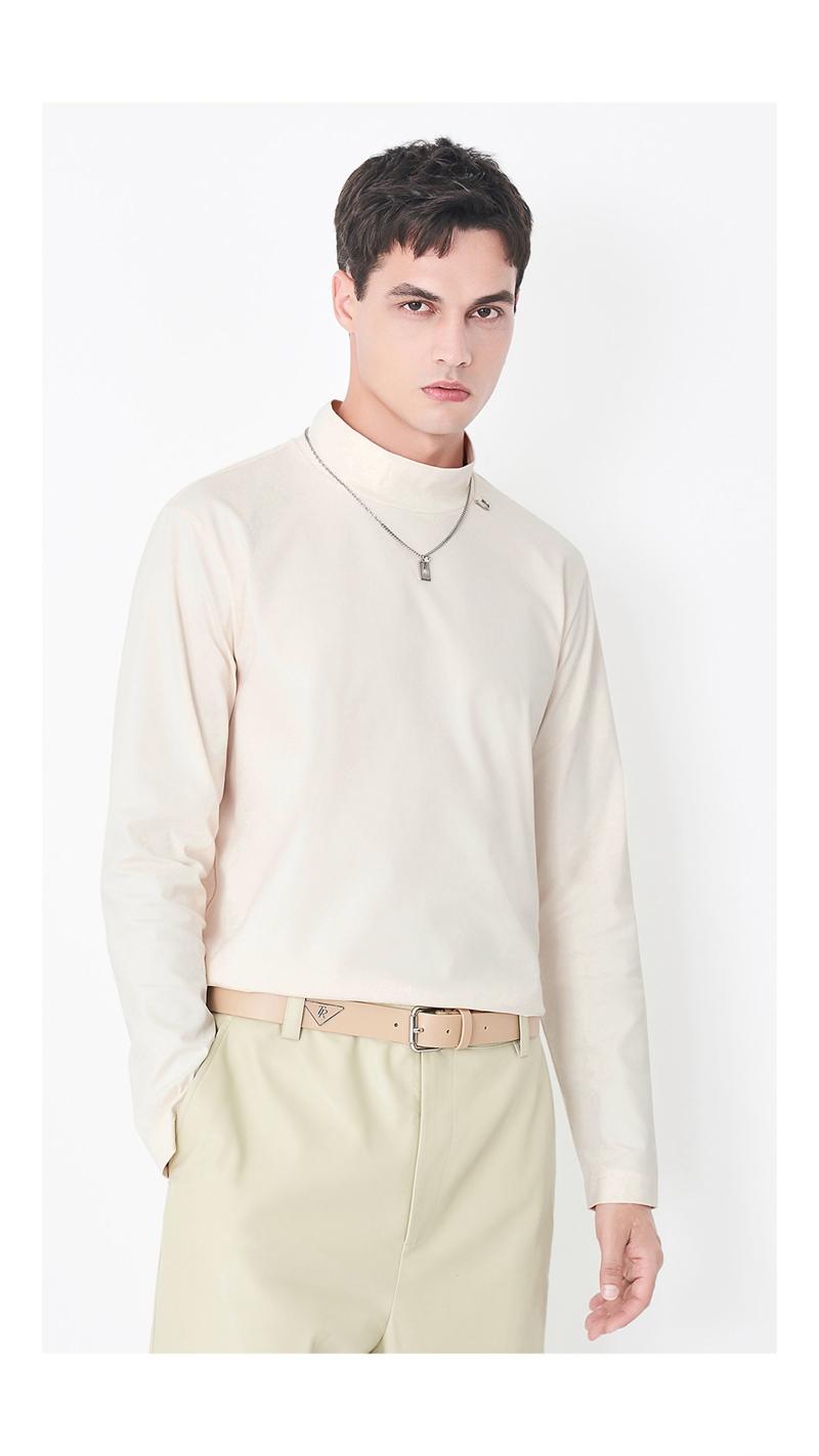 丝光立领弹力长袖T恤男
