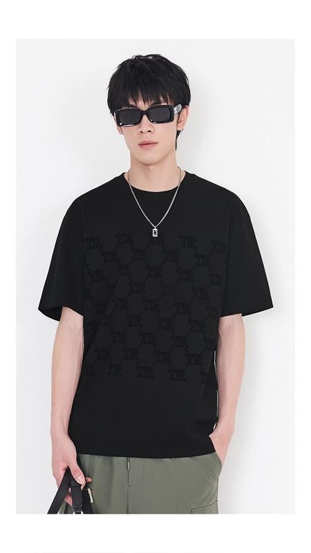 复古老花植绒短袖T恤男