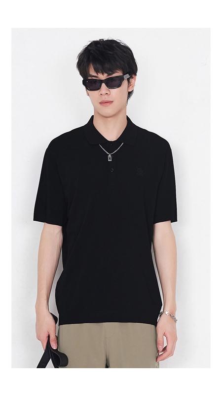 刺绣针织短袖Polo衫男