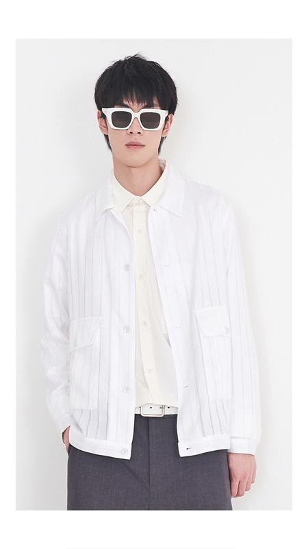 肌理光泽条纹长袖外套