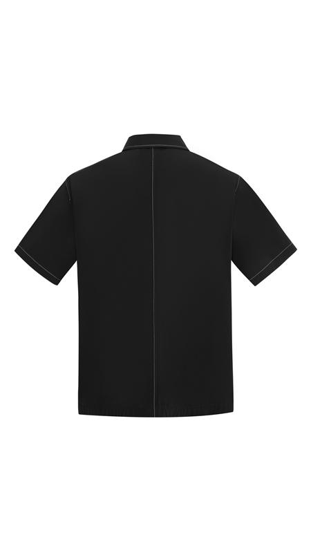 尖领明线休闲短袖衬衫